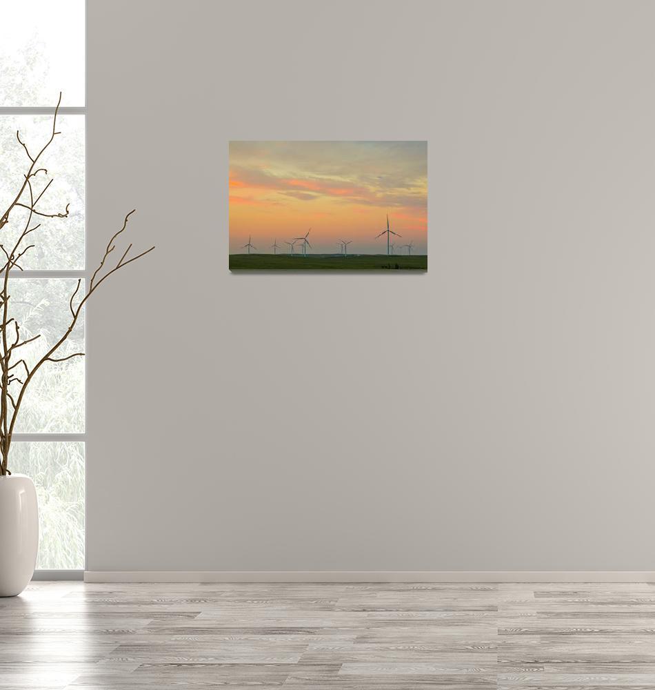 """Wind Turbine Sunset""  (2017) by lightningman"
