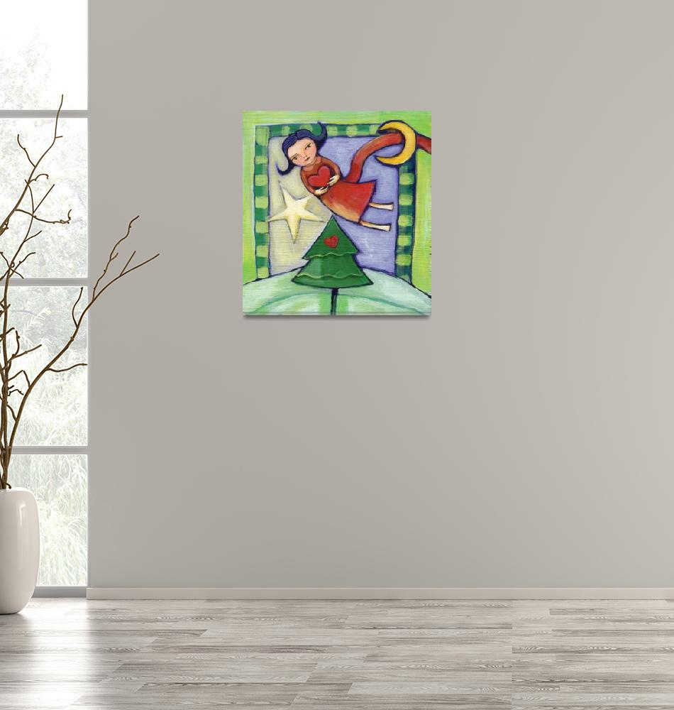 """Angel flying over the Christmas tree""  (2010) by AngelsTrail"