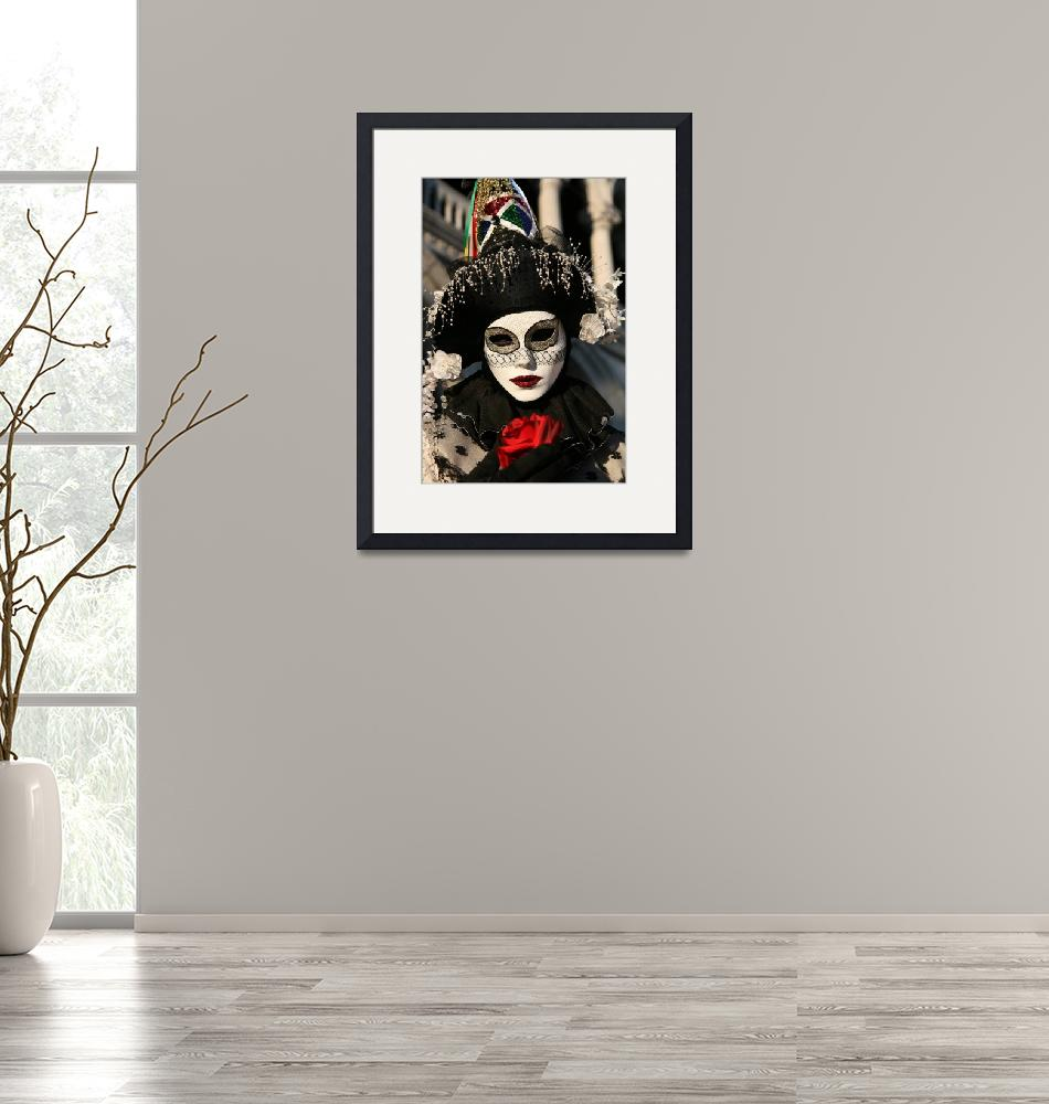 """""""Black and White Clown With Red Rose""""  by DonnaCorless"""