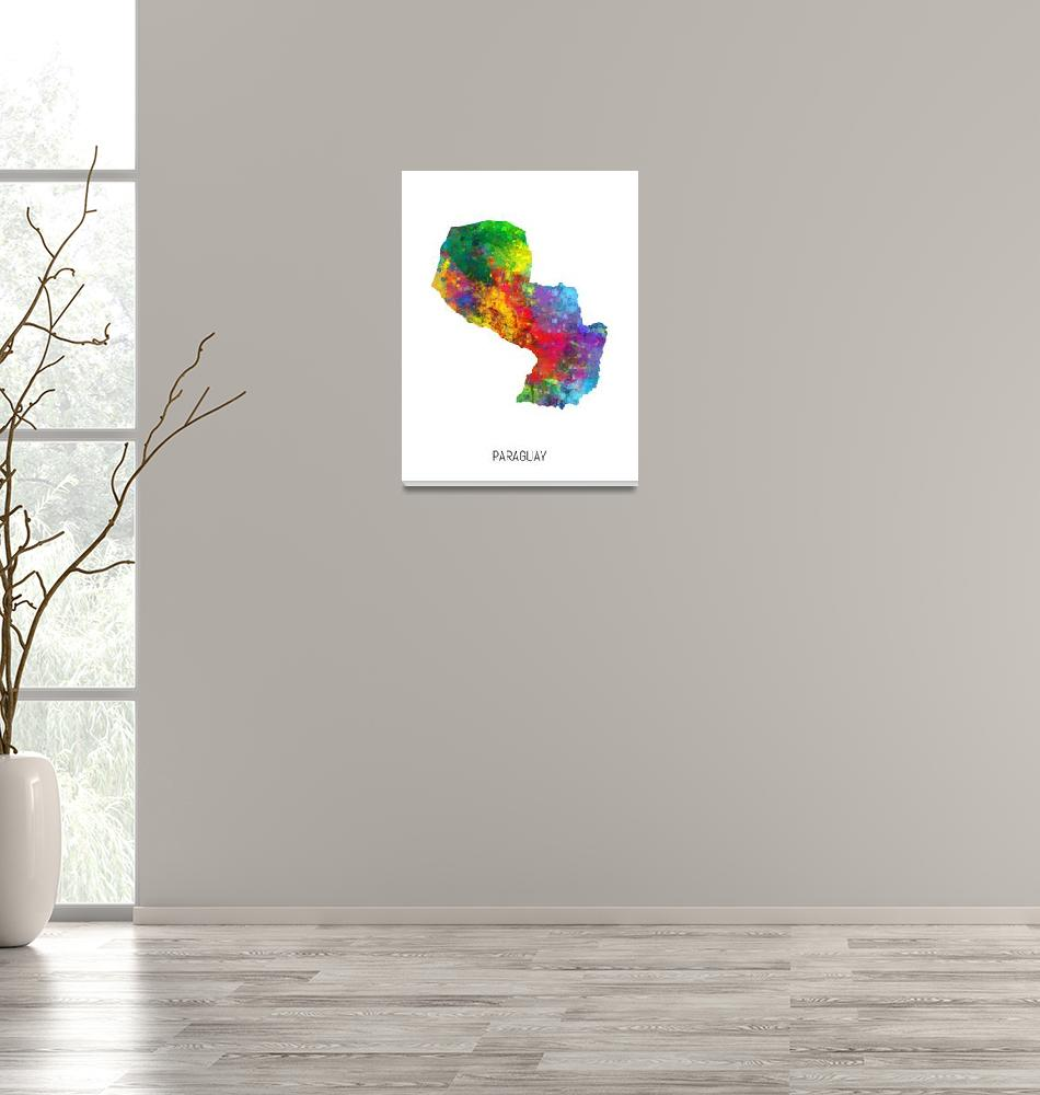 """Paraguay Watercolor Map""  (2019) by ModernArtPrints"