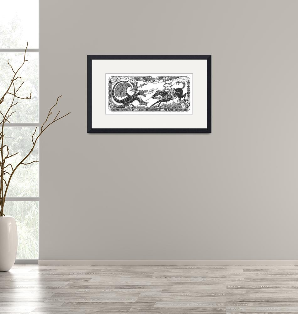 """""""St. George and The Dragon (14""""x30"""")""""  by KenRileyArt"""