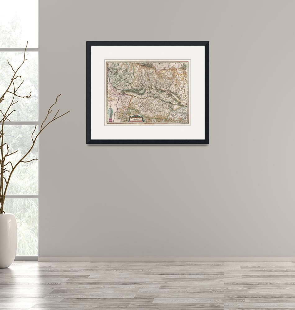 """""""Map of Alsace (Basel and Strasbourg) byJansson""""  by FineArtClassics"""