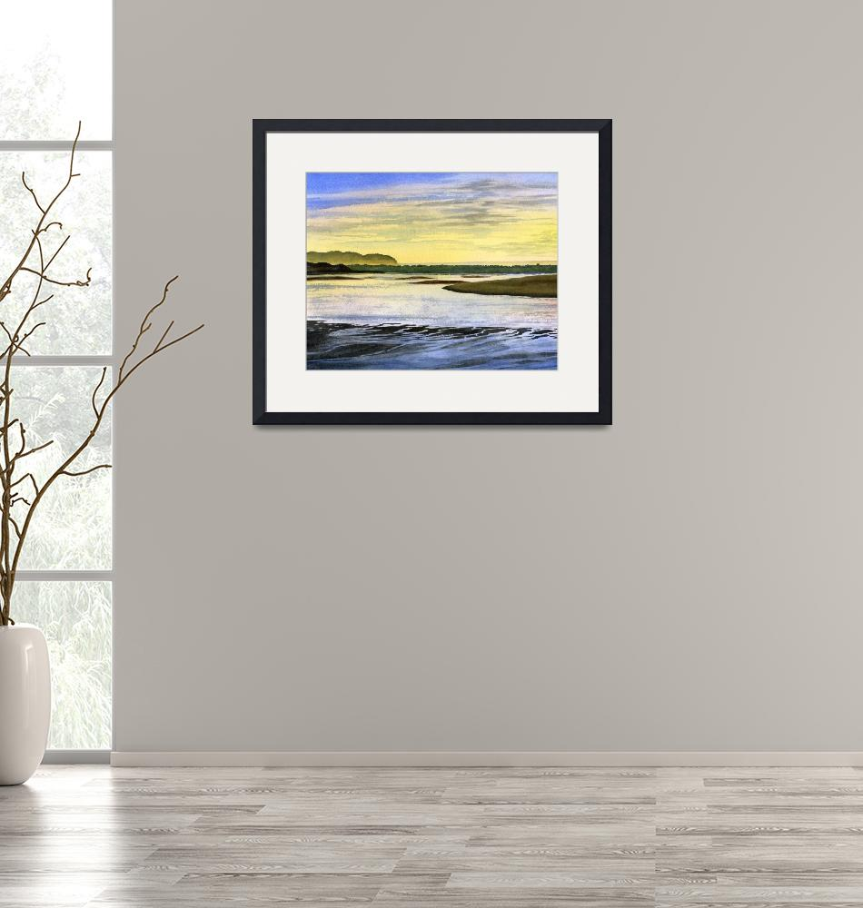 """""""Low Tide at Sunrise""""  (2017) by Pacific-NW-Watercolors"""