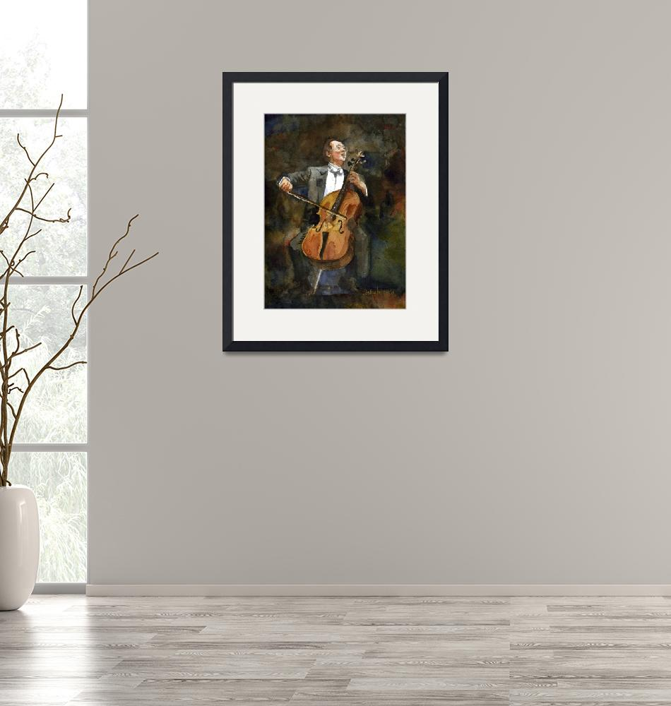 """The Joy of Cello, Yo Yo Ma Portrait Watercolor""  (2010) by schulmanart"