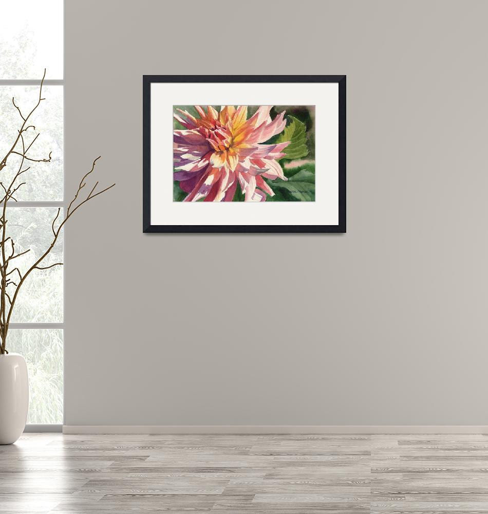"""Colorful Dahlia""  (2011) by Pacific-NW-Watercolors"