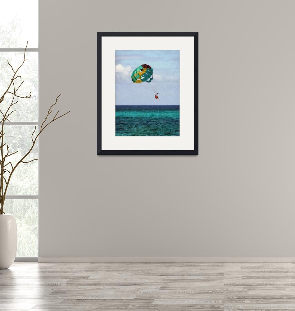 """Two Women Parasailing in the Bahamas""  (2010) by susansartgallery"