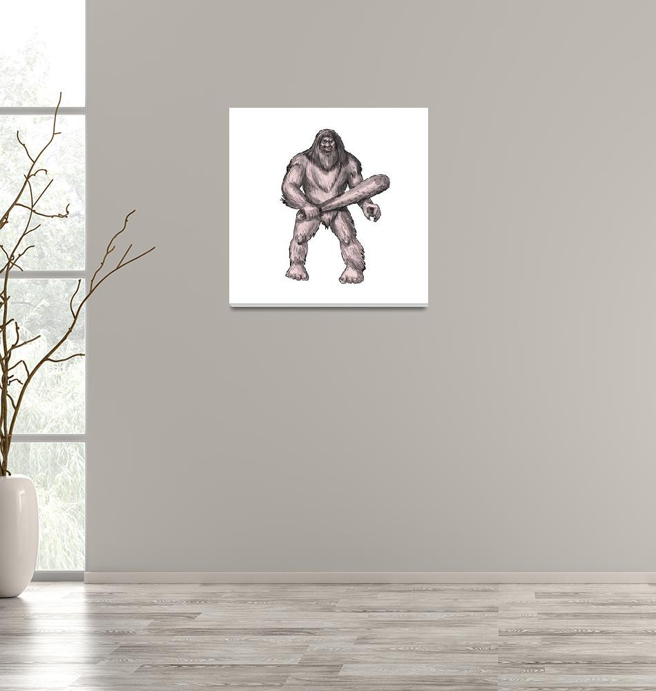 """Bigfoot Holding Club Standing Tattoo""  (2017) by patrimonio"