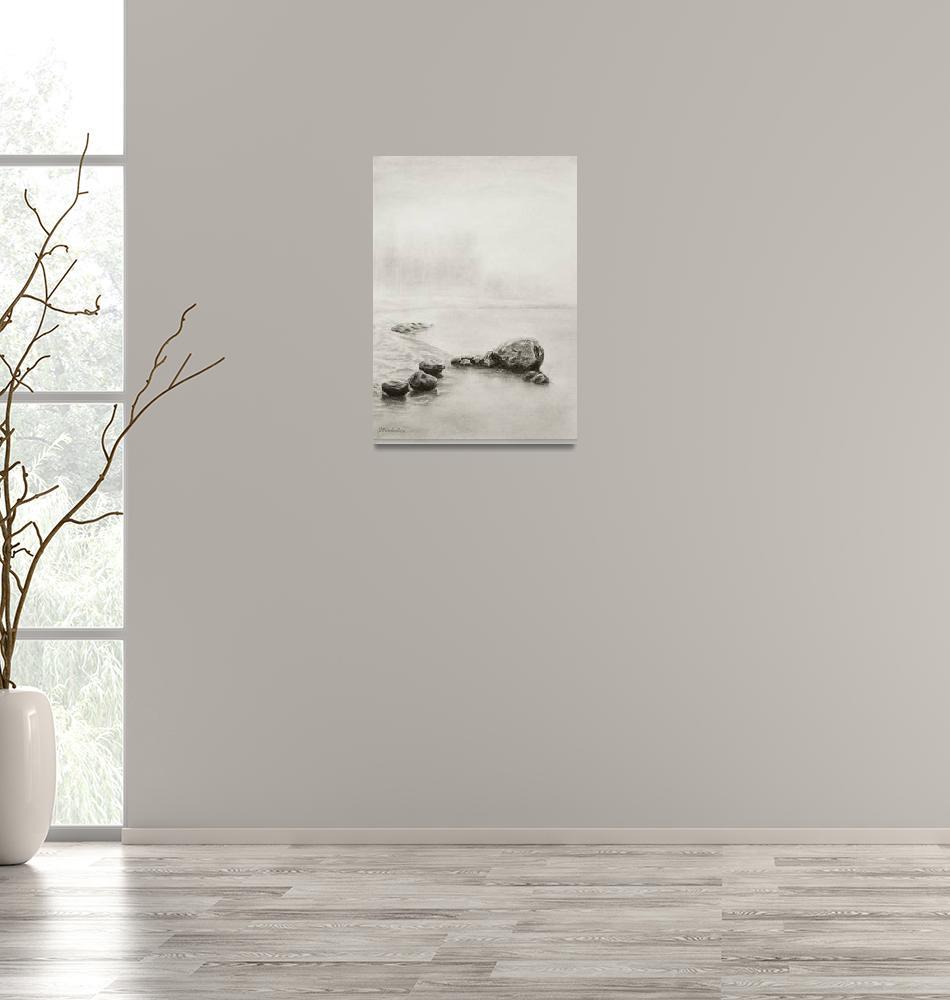 """Quebec, Rocks on the Lake""  (2012) by Skygeek"