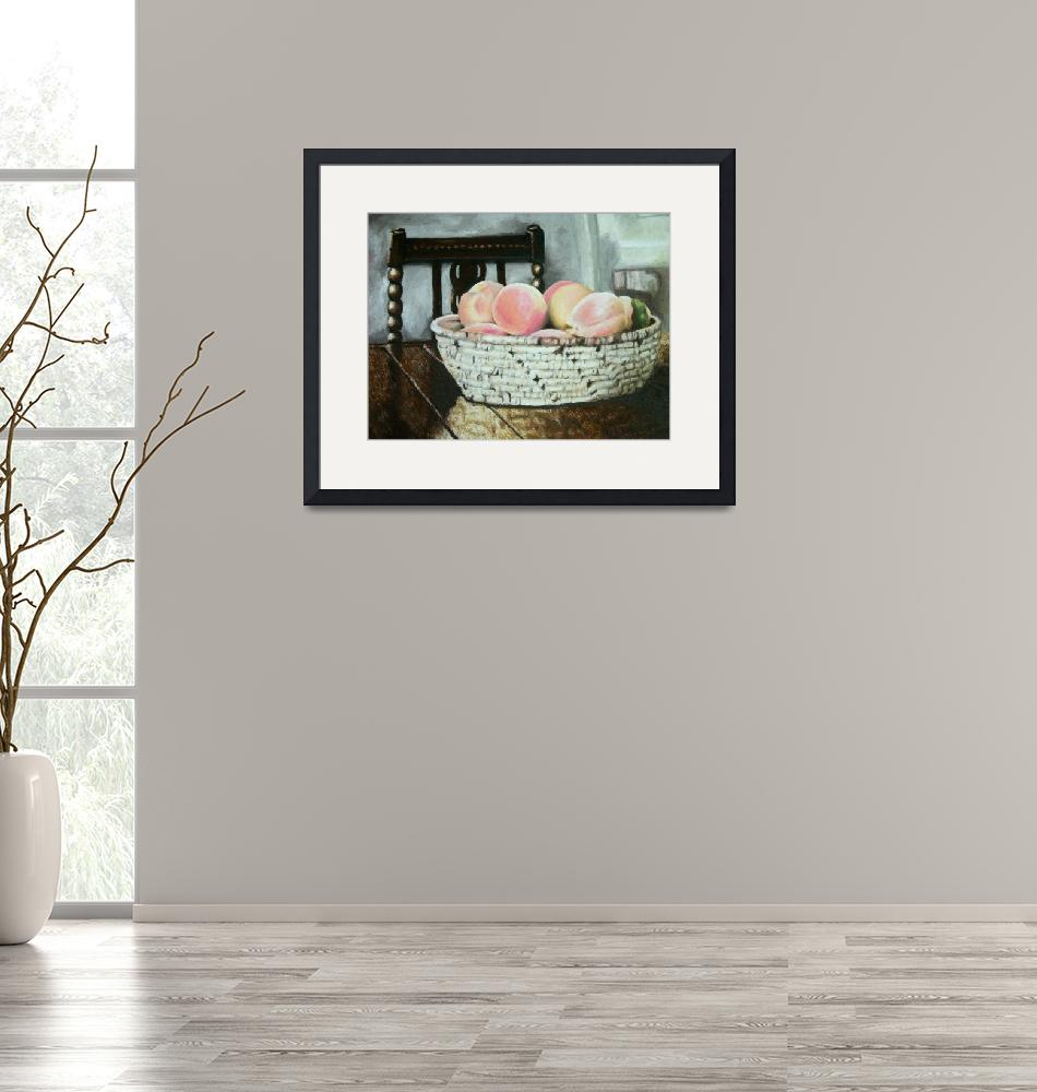 """""""Peach Basket on Table""""  (2004) by PonyBrowne"""