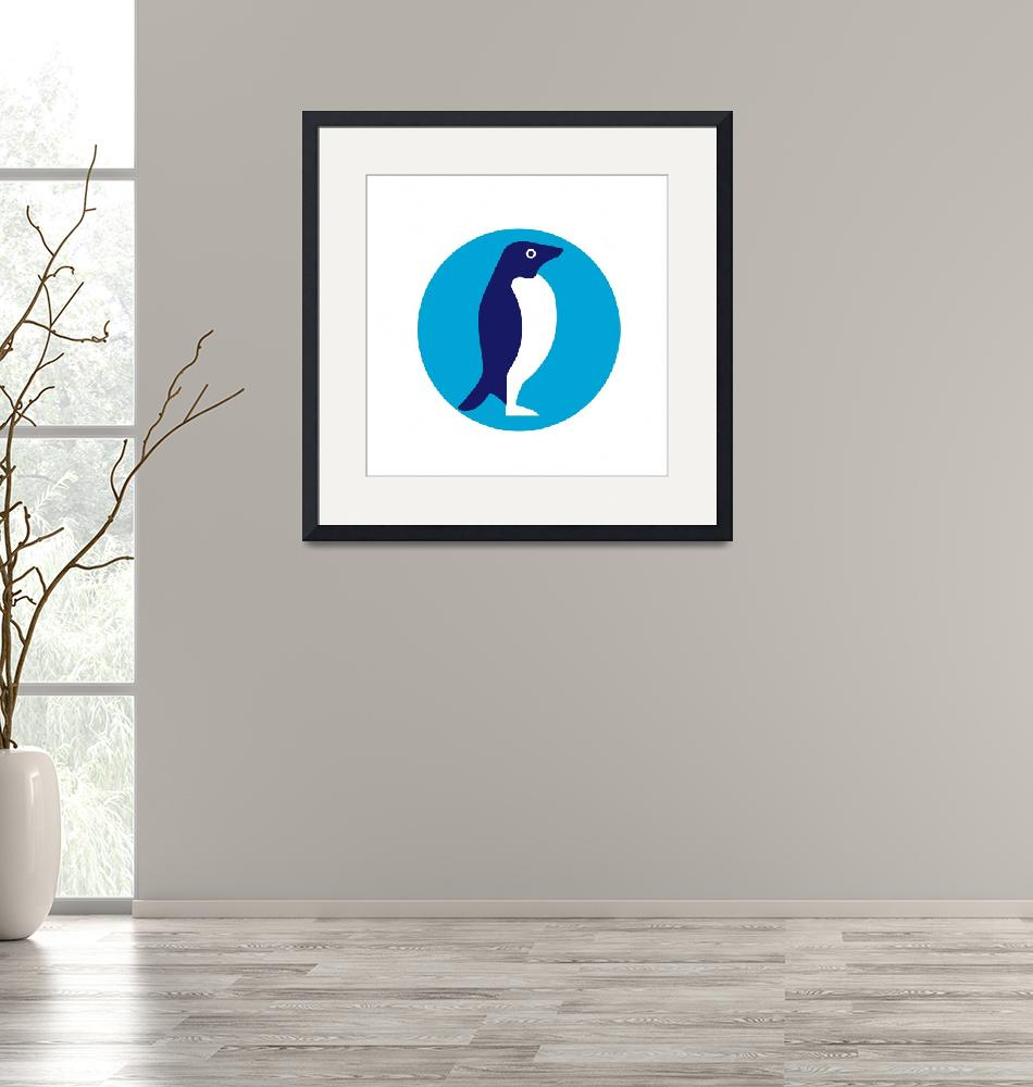 """Adelie Penguin Circle Retro""  (2016) by patrimonio"