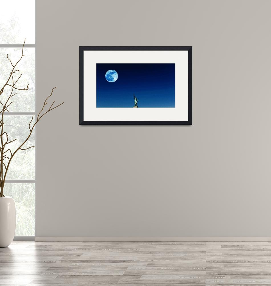 """""""Full Blue Moon over Lady Libery, New York, United""""  by motionage"""