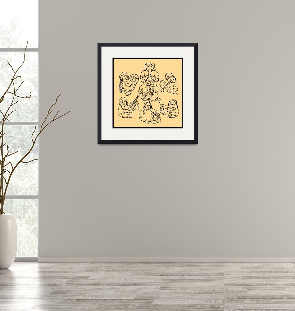 """""""Early Musicians, Rendered on gold parchment""""  (2021) by WilshireImages"""