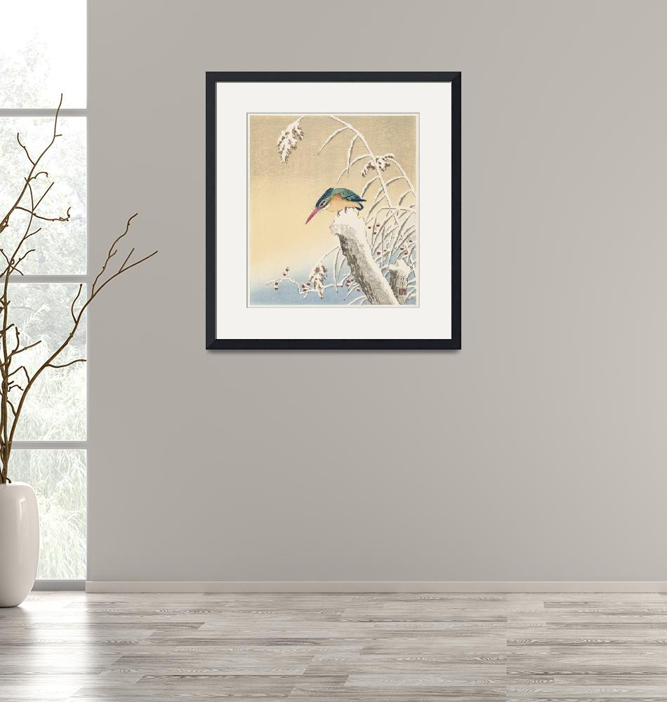 """""""Kingfisher in the Snow by Ohara Koson""""  by FineArtClassics"""