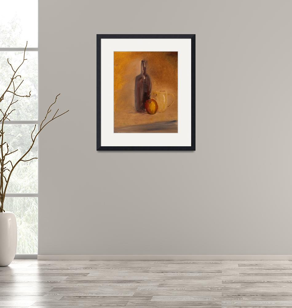 """""""SL - Still Life With Wine Bottle, Cup and Apple""""  (2009) by PaulGalante"""