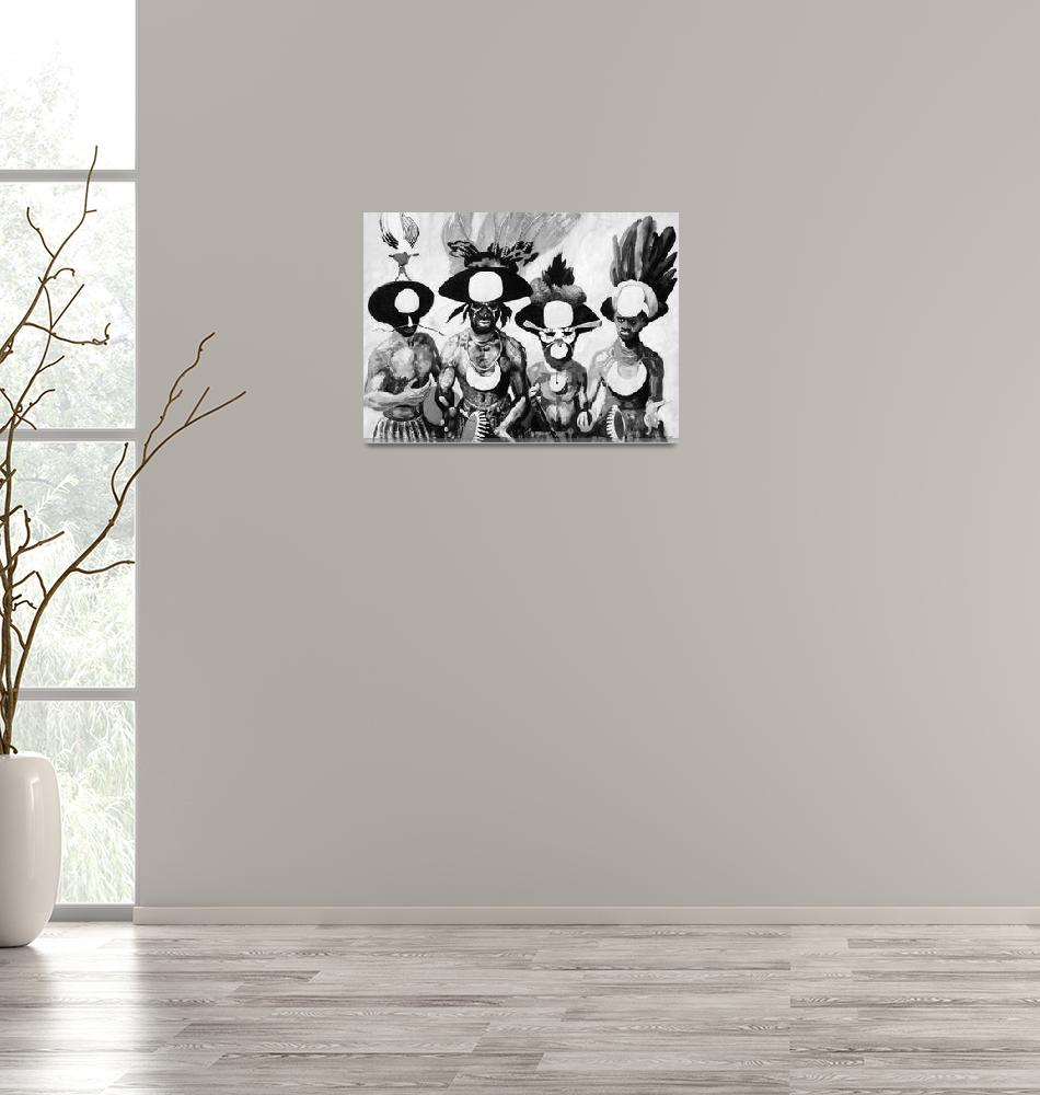 """Four Enga Dancers in monochrome""  by DavidBleakley"