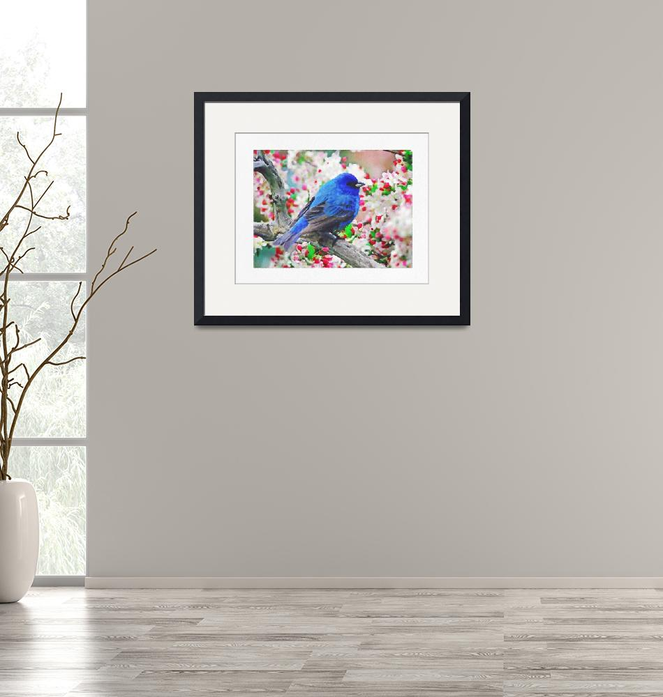 """Blue Bird on Cherry Blossoms""  (2019) by ElainePlesser"