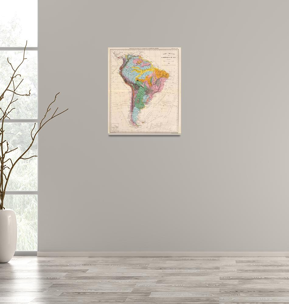 """Vintage Geological Map of South America (1873)""  by Alleycatshirts"