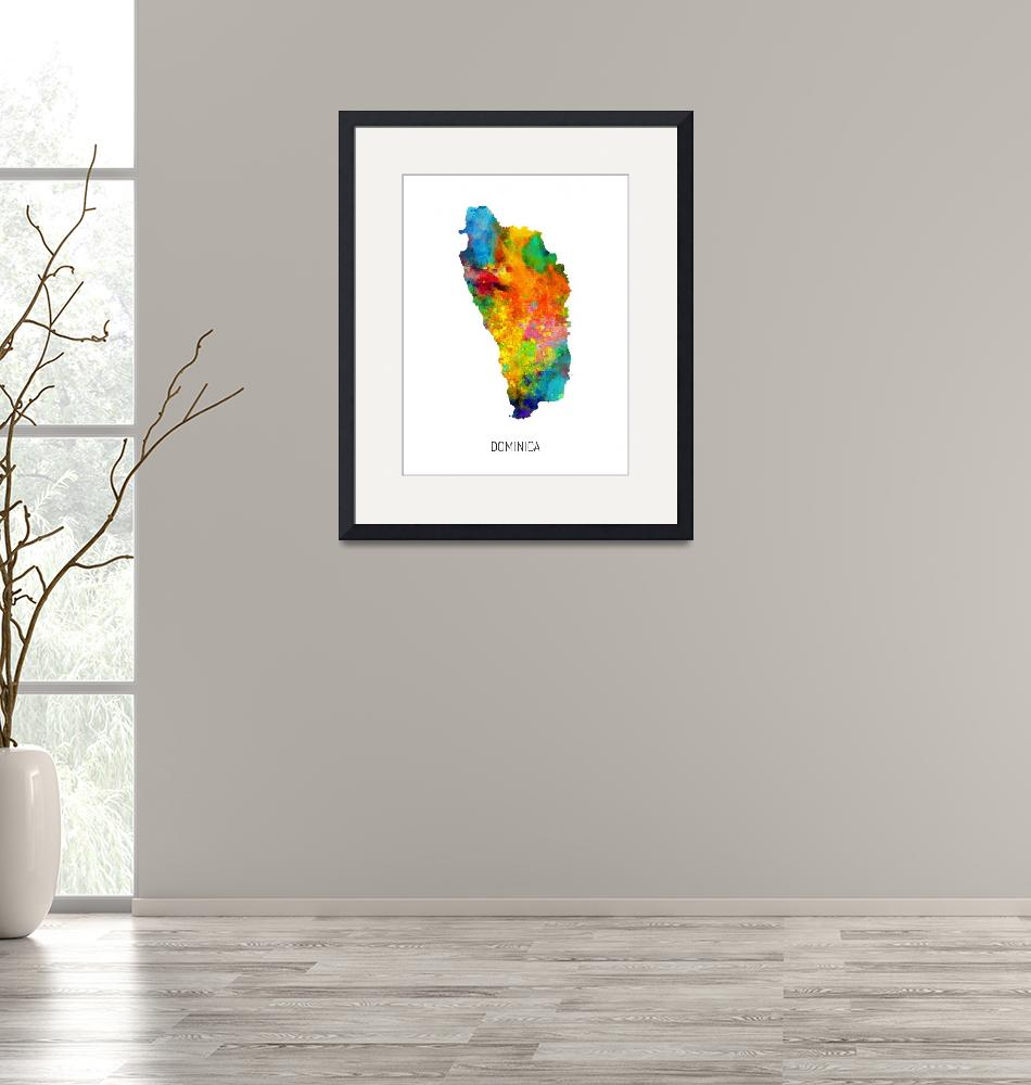 """Dominica Watercolor Map""  (2019) by ModernArtPrints"
