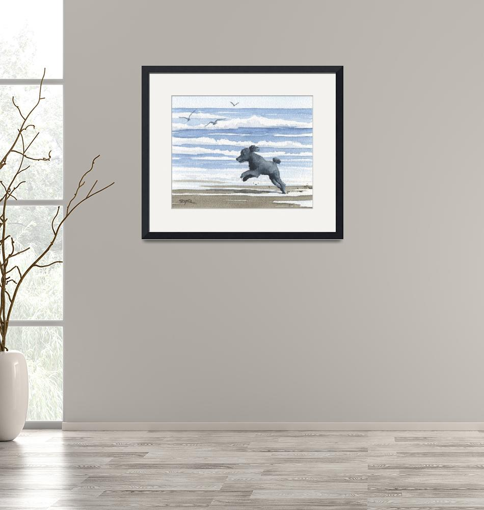 """""""Black Poodle at the Beach""""  (2015) by k9artgallery"""
