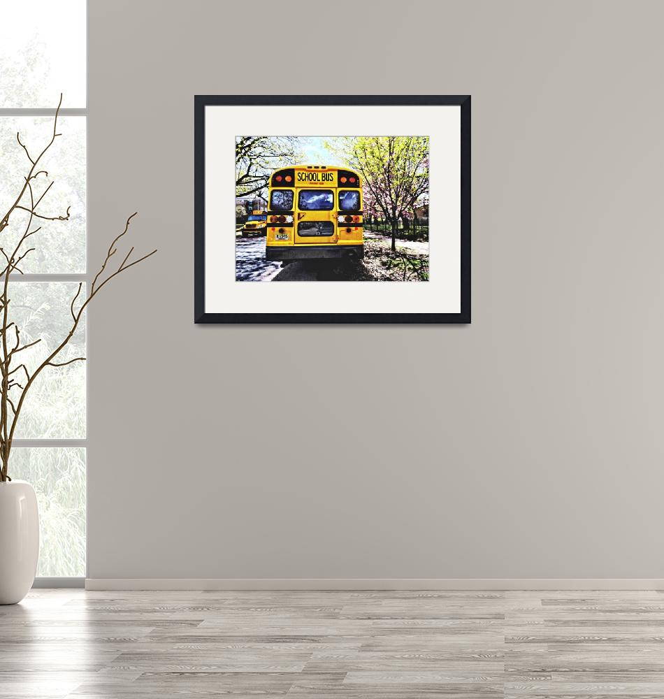 """""""Parked School Buses in Spring""""  by susansartgallery"""