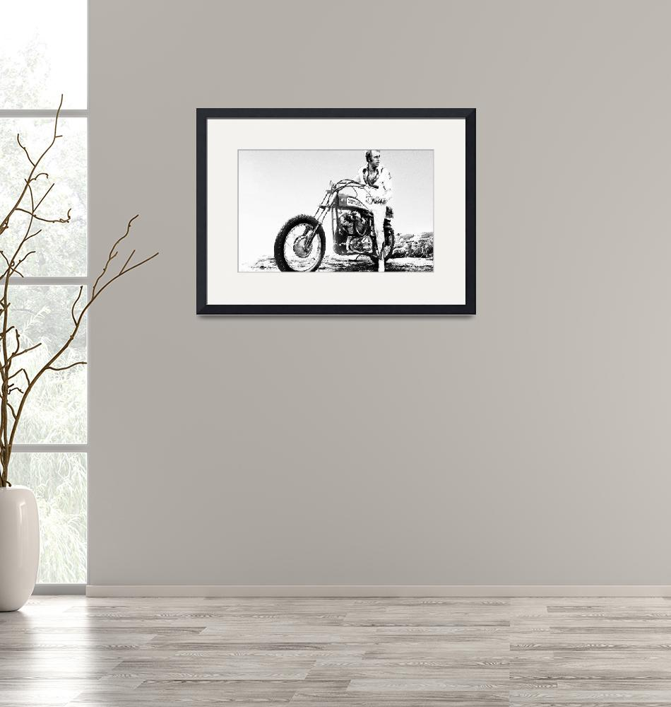"""""""Evel Knievel Painting Black And White""""  by RubinoFineArt"""