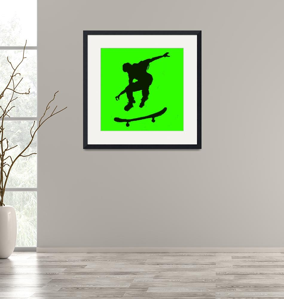 """Skateboarder 3 . green yellow (c)""  (2014) by edmarion"