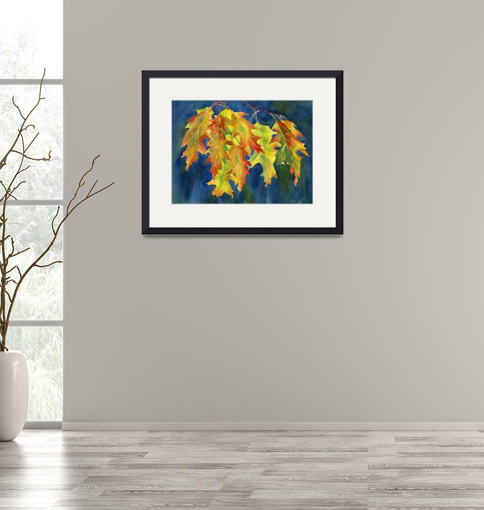"""""""Autumn Oak Leaves on Blue Background""""  (2015) by Pacific-NW-Watercolors"""