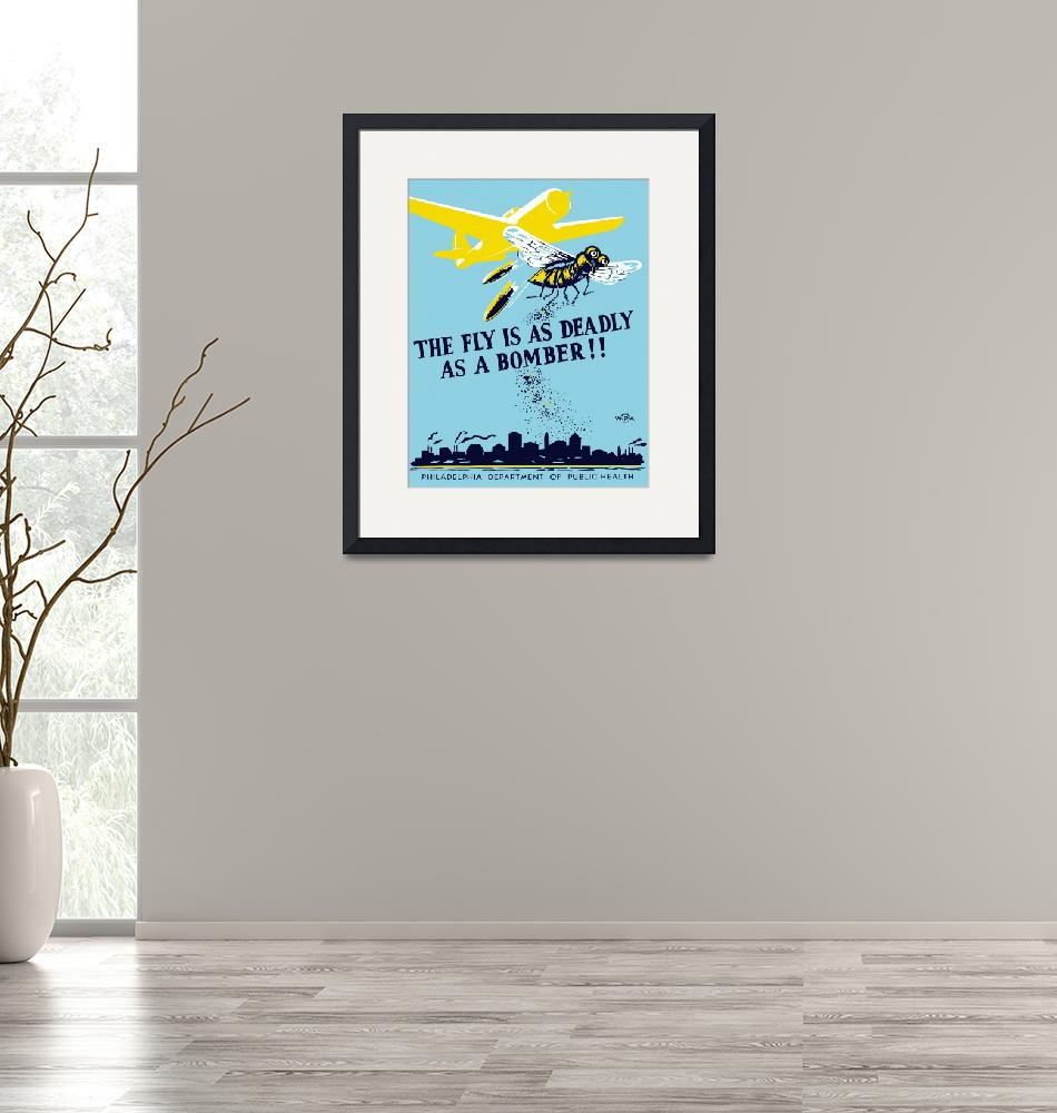 """""""WPA propaganda poster of a bomber plane and a fly""""  by stocktrekimages"""