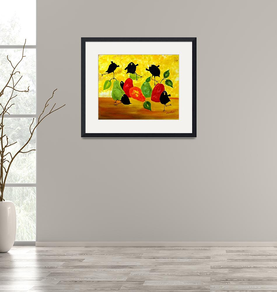 """""""Crow and Pear""""  (2015) by cneartgallery"""
