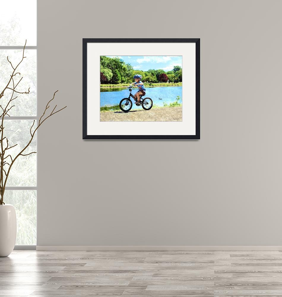 """""""Boy on His Bicycle""""  by susansartgallery"""