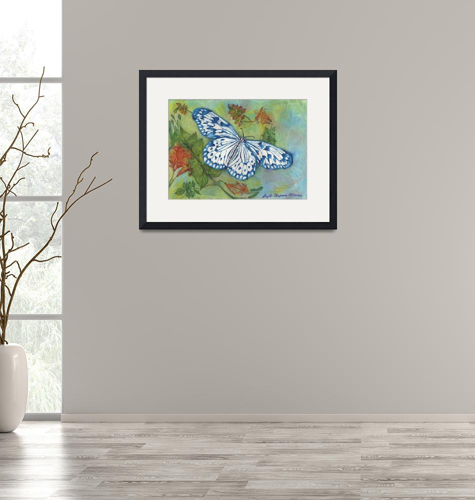 """""""Blithesome Blue China Butterfly""""  by GayelaChapman"""