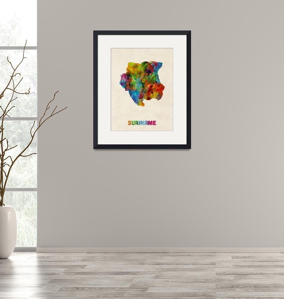 """Suriname Watercolor Map""  (2014) by ModernArtPrints"