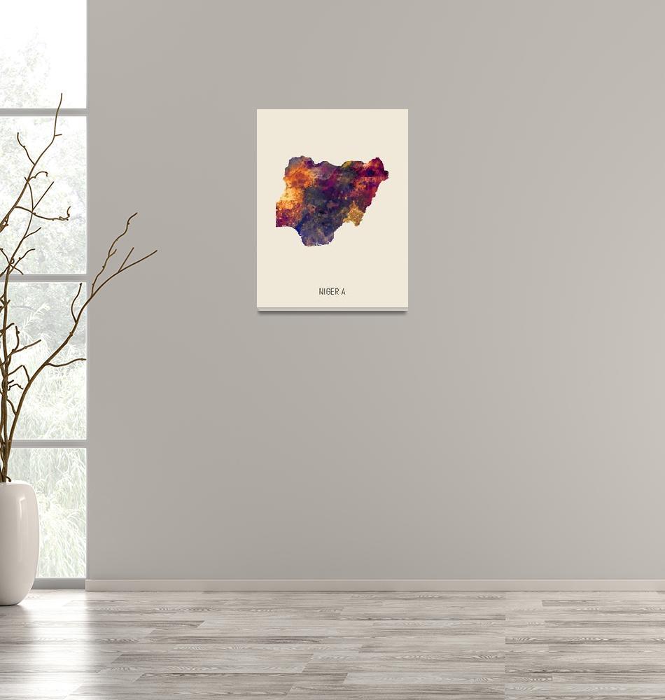 """Nigeria Watercolor Map""  (2019) by ModernArtPrints"