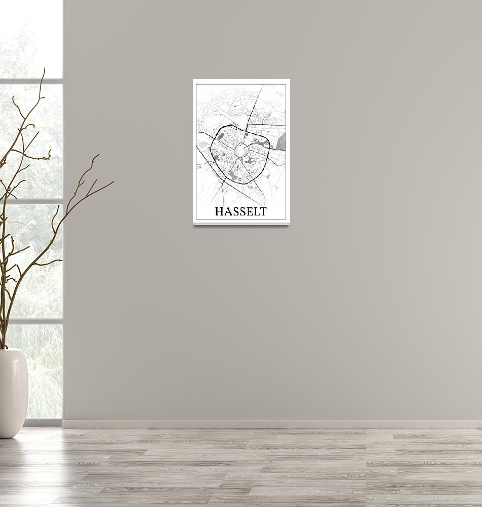 """Hasselt, Limburg, Belgium, city map print.""  by dandistudio"