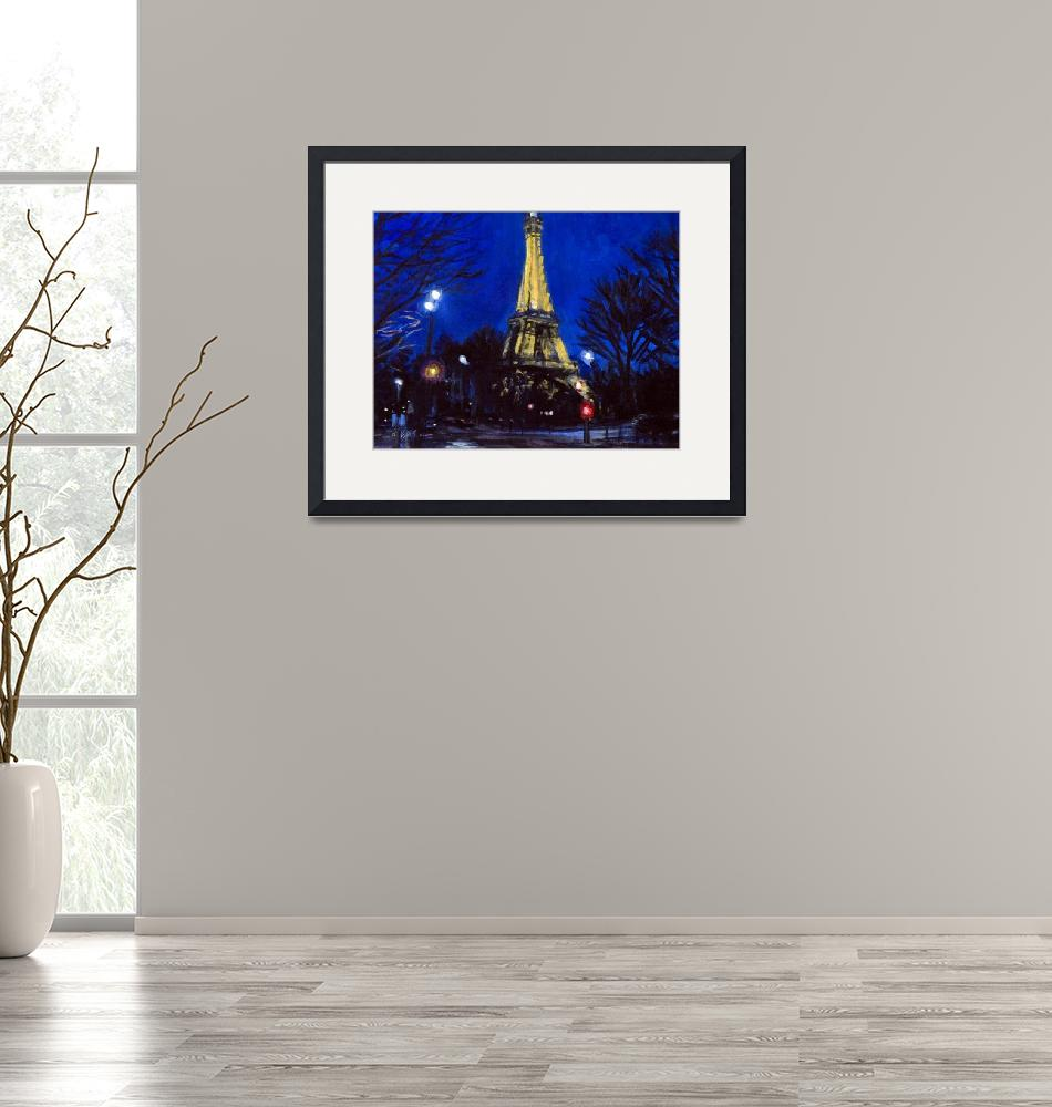 """""""Eiffel Tower Sparkles at Sunset In Paris""""  (2010) by KeatingArt"""