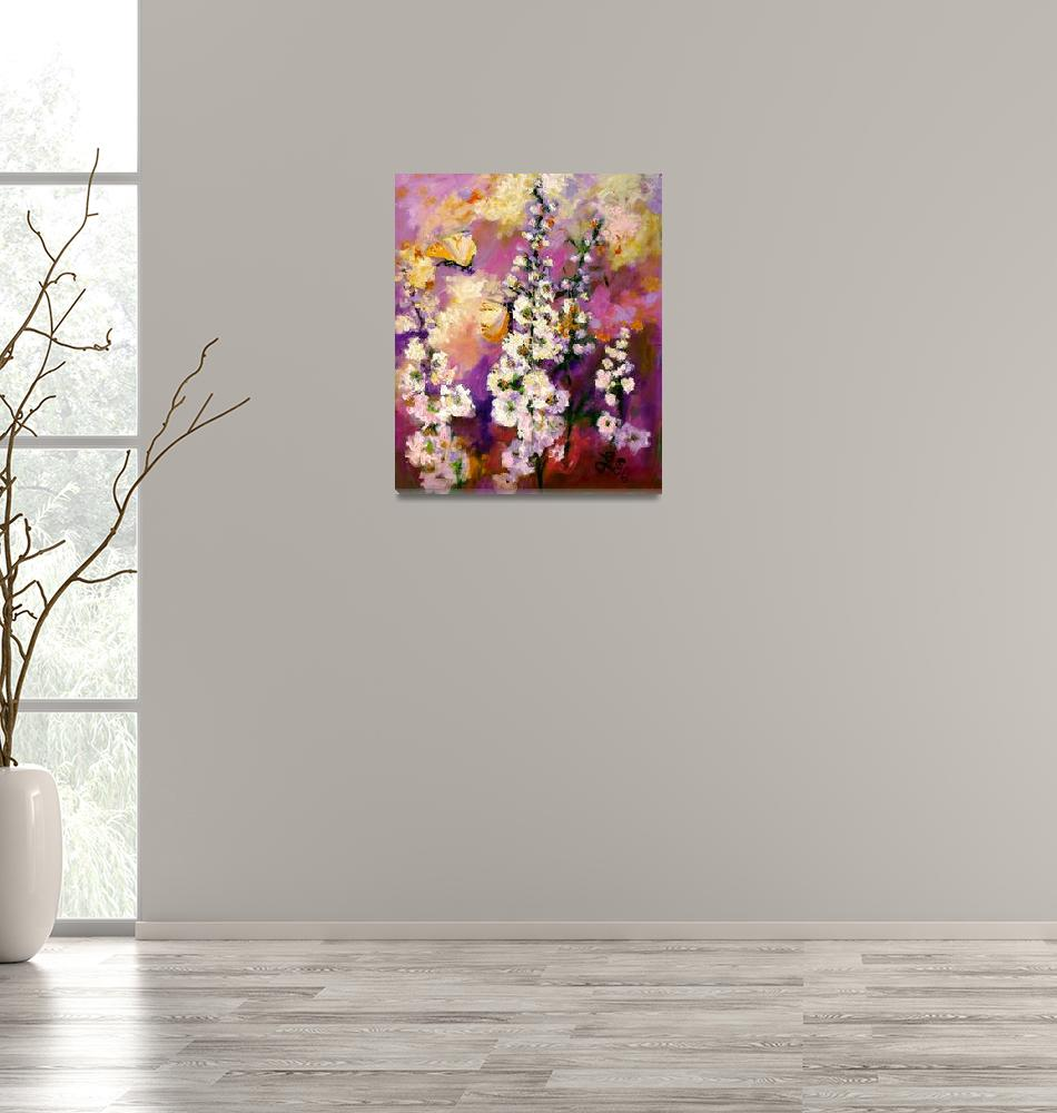 """""""Impressionist Hollyhock Butterflies Oil Painting""""  (2006) by GinetteCallaway"""