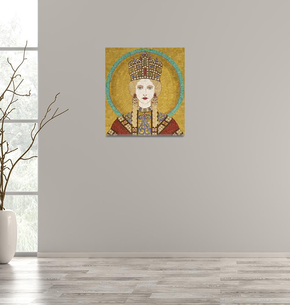 """Empress Irene of Byzantiumm- fabric mosaic""  (2013) by RemnantWorks"