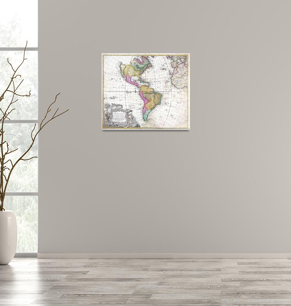 """""""Map of South & North America by Homann Heirs""""  by FineArtClassics"""