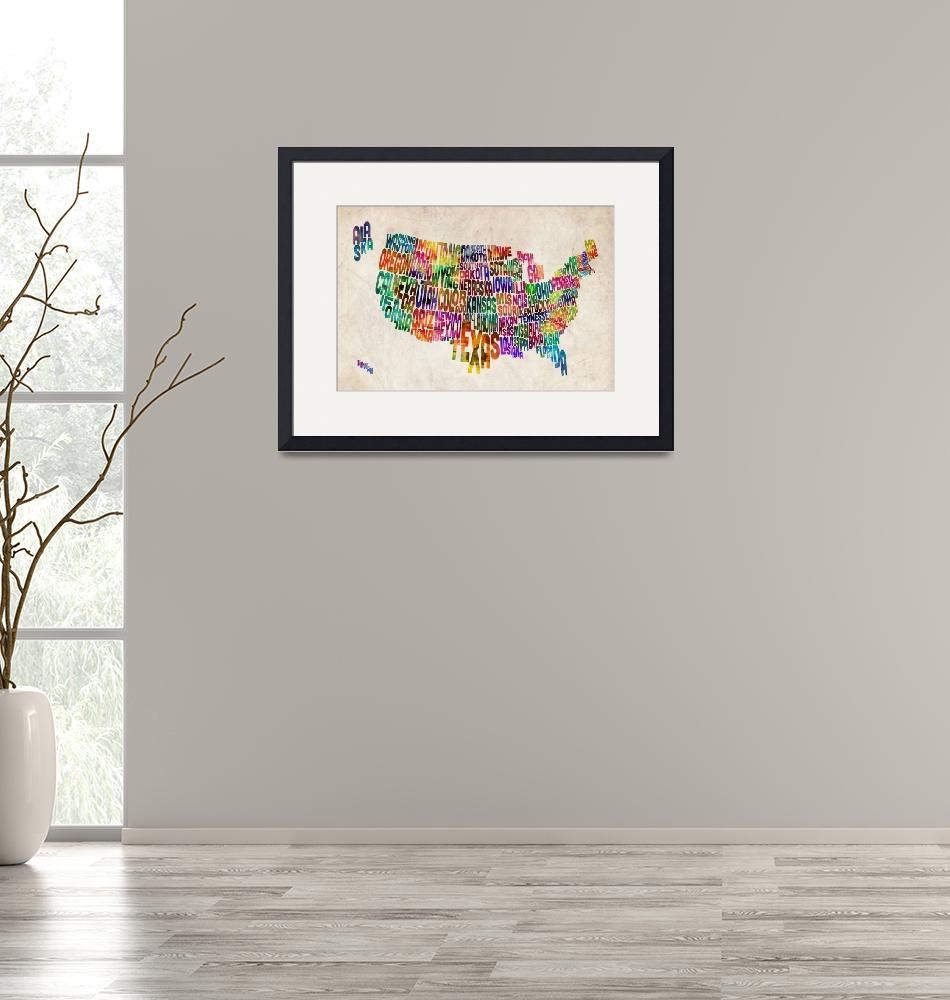 """""""United States Text Map""""  (2012) by ModernArtPrints"""