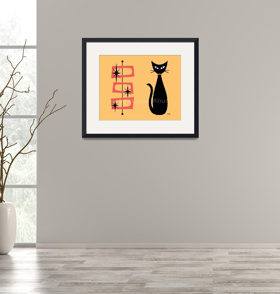 """""""Cat with Retro Rectangles Yellow""""  by DMibus"""