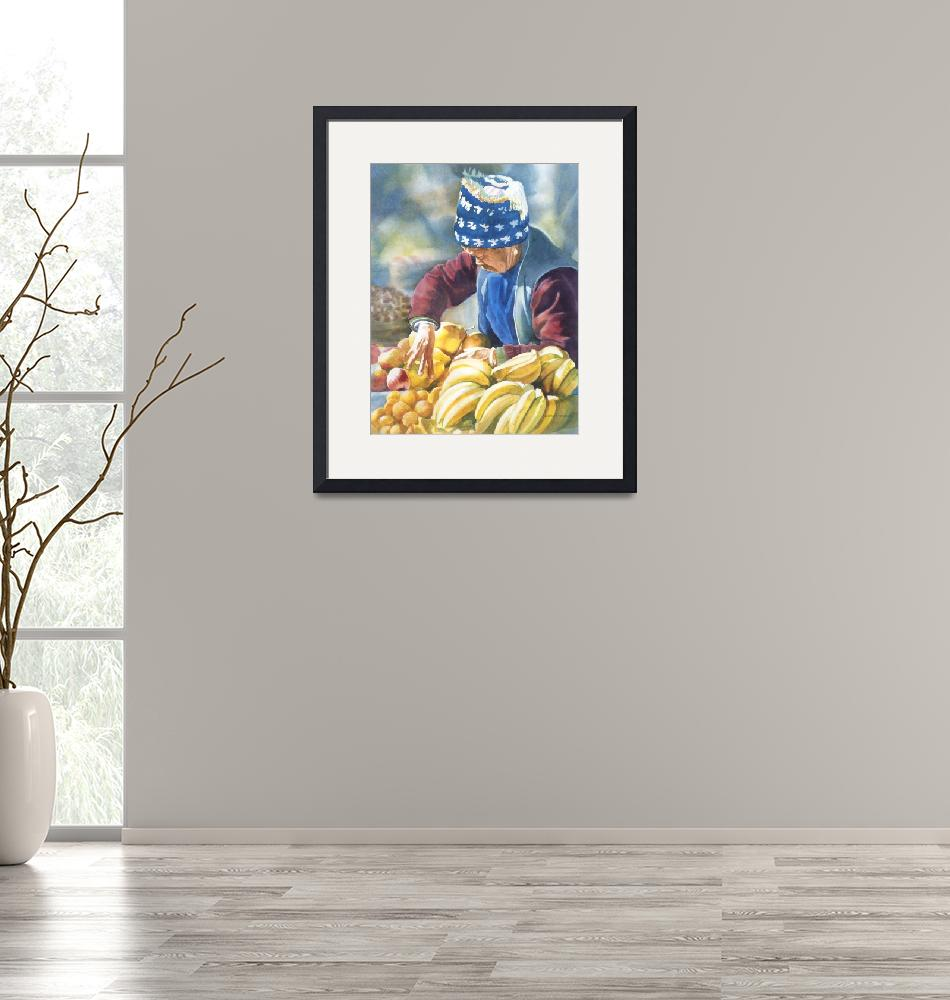 """""""Her Fruit Stand""""  (2010) by Pacific-NW-Watercolors"""