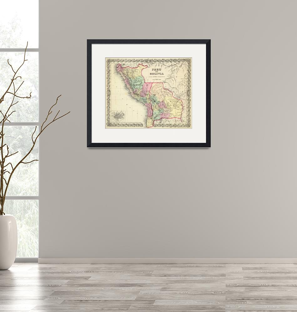 """Vintage Map of Peru and Bolivia (1856)""  by Alleycatshirts"