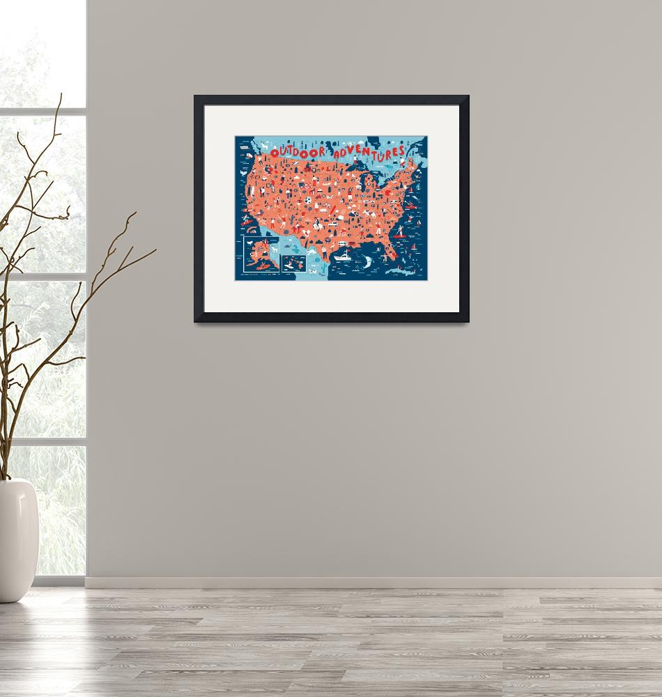 """""""Illustrated Map of USA Outdoors by Nate Padavick""""  by TheyDrawandCook"""