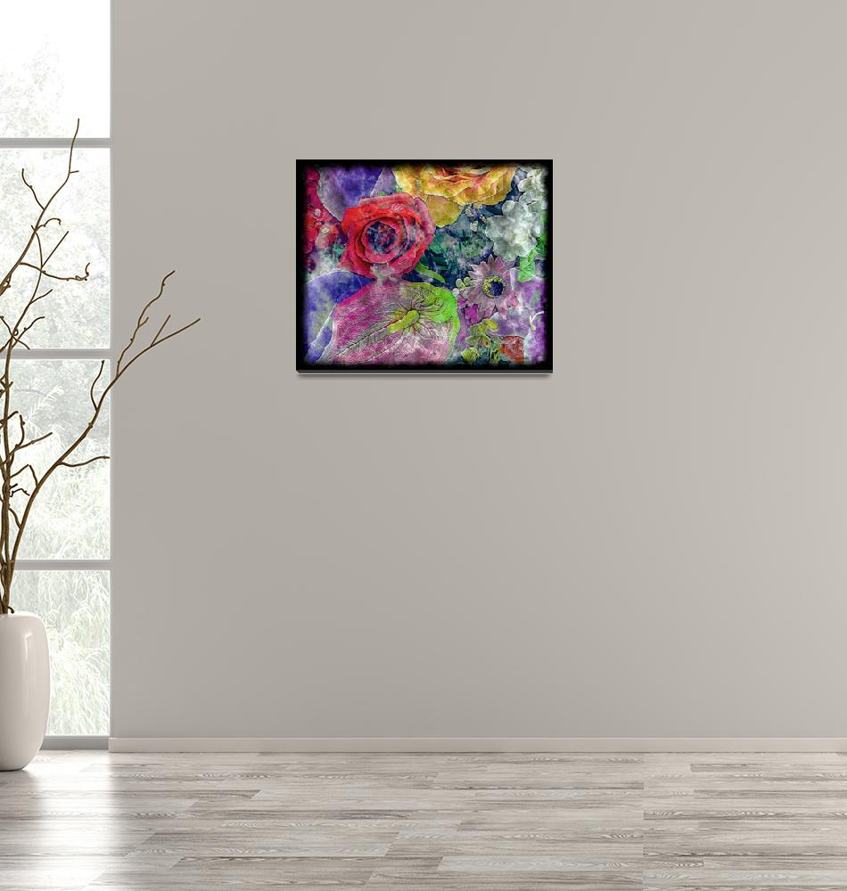 """""""34a Abstract Floral Painting Digital Expressionism""""  (2016) by Ricardos"""
