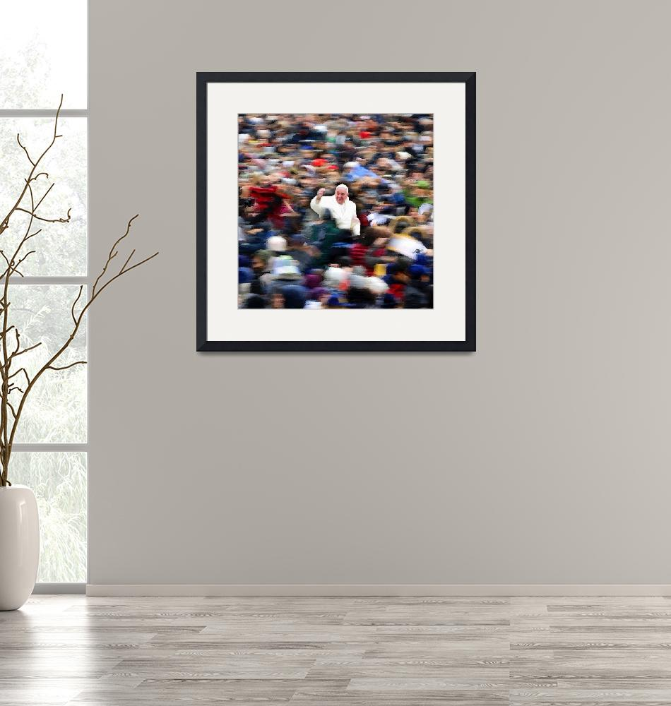 """""""Pope Francis In Crowd of Faithful Acrylic 6""""  by RubinoFineArt"""