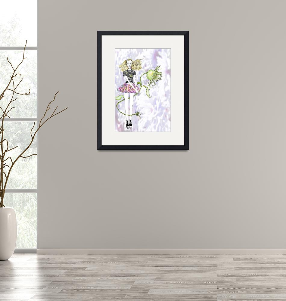 """""""Illustration....Girl with Flower"""" (2011) by chowarddesigns"""