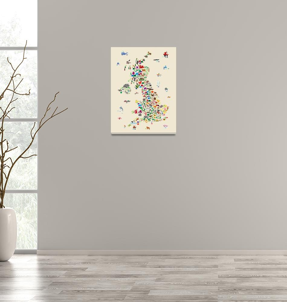 """Animal Map of Great Britain & NI for children and""  (2017) by ModernArtPrints"