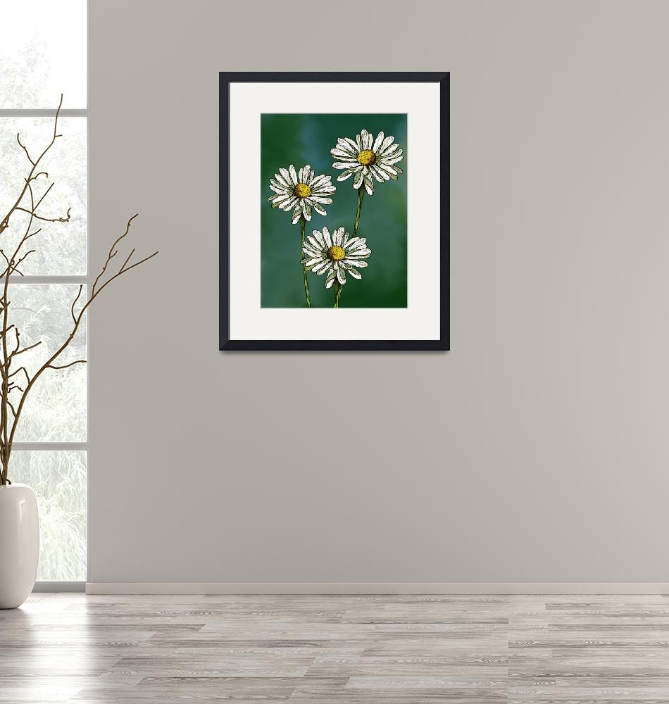 """Three Daisies on Green""  (2016) by joyart"