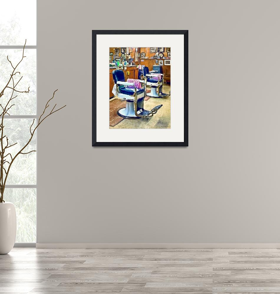 """""""Two Barber Chairs With Pink Striped Barber Capes""""  by susansartgallery"""