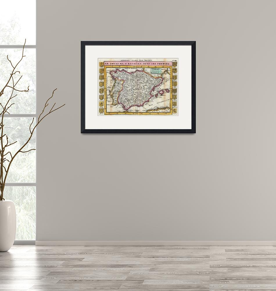 """""""Vintage Map of Spain and Portugal (1747)""""  by Alleycatshirts"""
